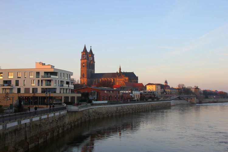 View of river with magdeburg cathedral in background