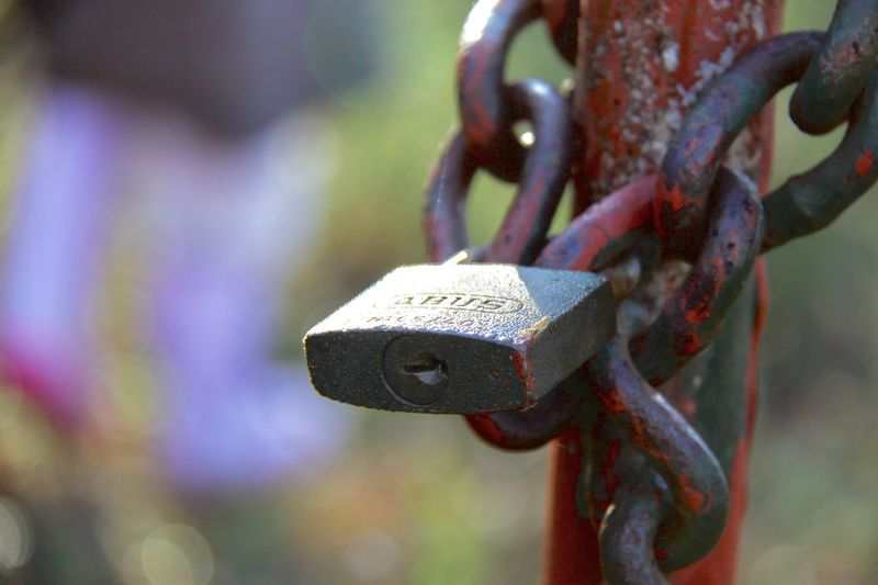 Padlock Metal Security Lock Close-up Focus On Foreground No People Rusty Chain Love Lock Protection Hanging Outdoors Strength Day Hope