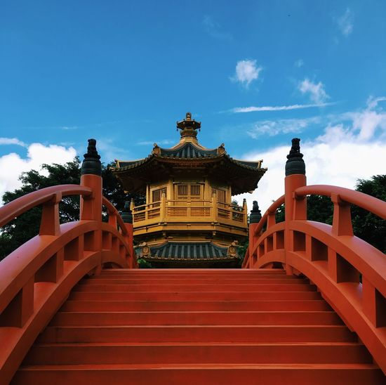 Pagoda Architecture Built Structure Sky Cloud - Sky Building Exterior Staircase Nature Belief Travel Destinations Religion Spirituality No People Building Outdoors
