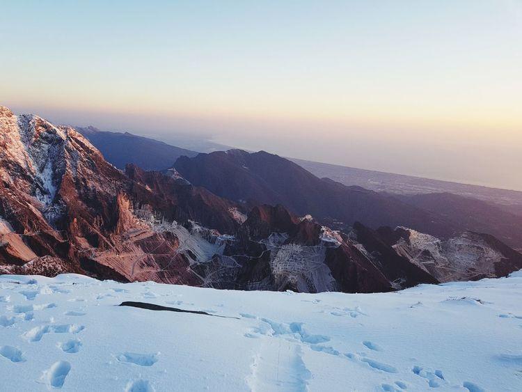 Carrara Carrara-marmor Snow Cold Temperature Winter Sunset Mountain Pinaceae Landscape