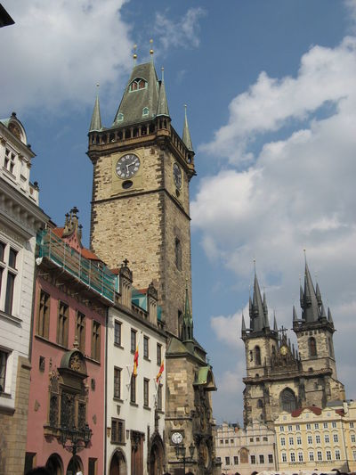 Prague astronomical clock by church of our lady before tyn against sky