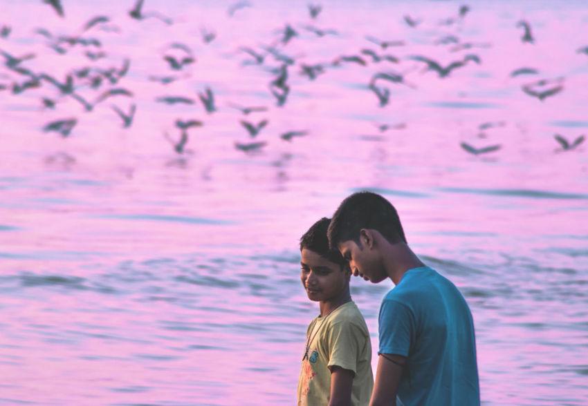#CalmAndSerene #Dailylife #mumbai Beach Bonding Happiness Sea Togetherness