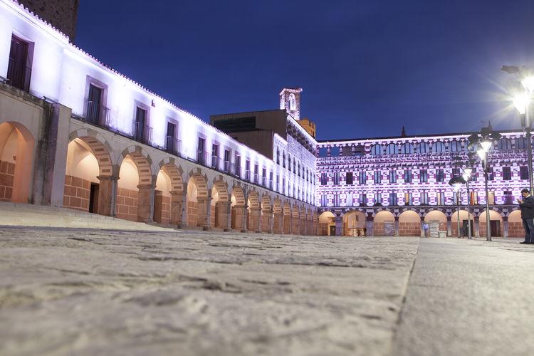 Illuminated plaza alta de badajoz at night