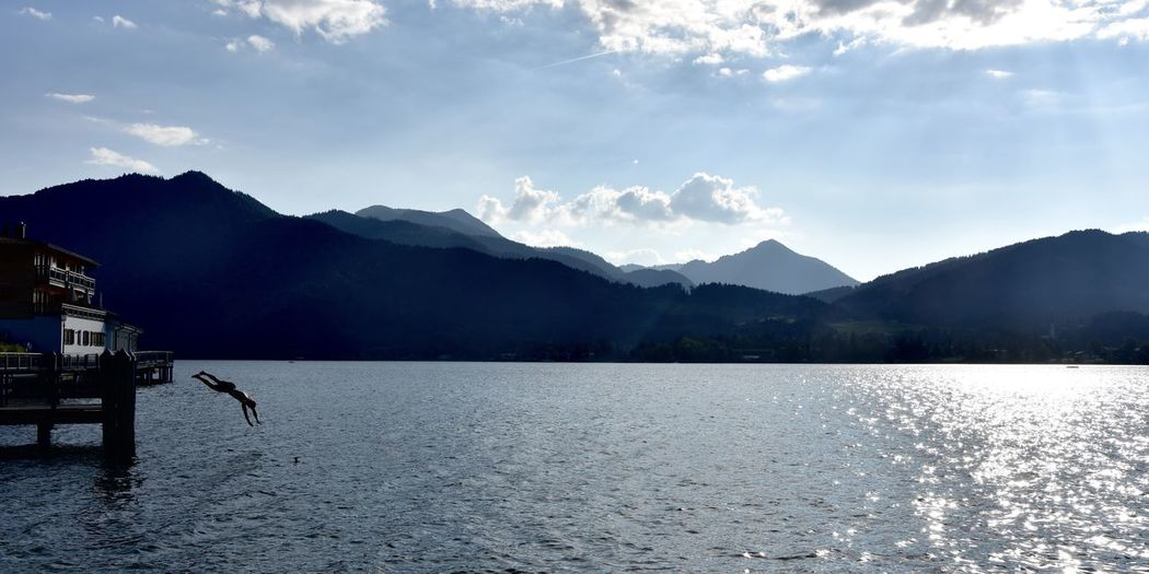 Alps Autumn Bavaria Beauty In Nature Jump Mountain Outdoors Summer Sun Tegernsee Tranquil Scene Tranquility Water
