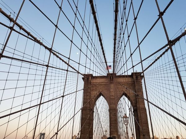 Brooklyn Bridge / New York Built Structure Architecture Sky Arch Low Angle View Travel Destinations Tourism Suspension Bridge History Bridge Summer Road Tripping