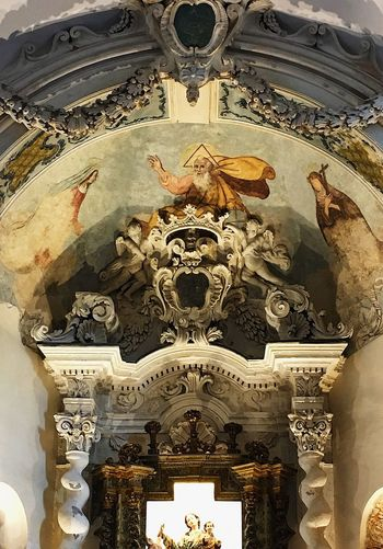 Europe Italy Sicily Religion Indoors  No People Spirituality History The Past Place Of Worship Close-up Backgrounds Belief Architecture Creativity Art And Craft Representation Full Frame Low Angle View Pattern