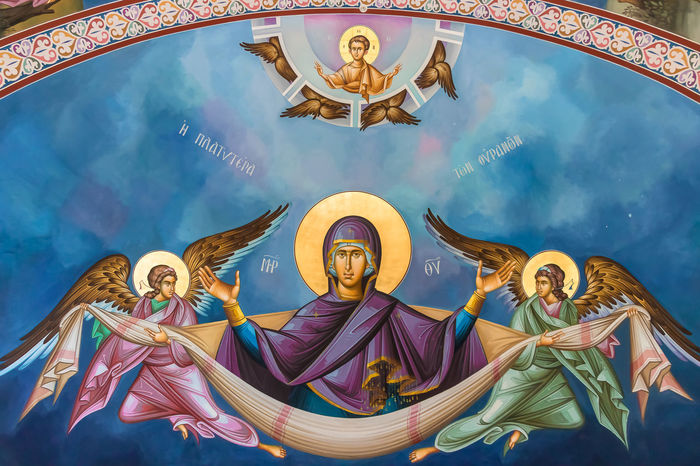 Theotokos Art And Craft Representation Human Representation Sky Male Likeness Cloud - Sky Spirituality Group Of People Religion Front View Female Likeness Belief Arts Culture And Entertainment Nature Women Creativity Outdoors Mural Happiness Angel Theotokos Orthodox Orthodox Church Virgin Mary Jesus Christ