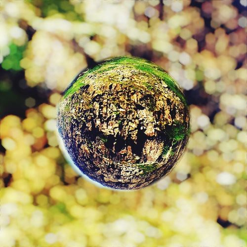 Elements:part 4. Nature at Thingvellir through a crystal ball. Crystall Sphere Iceland Marble