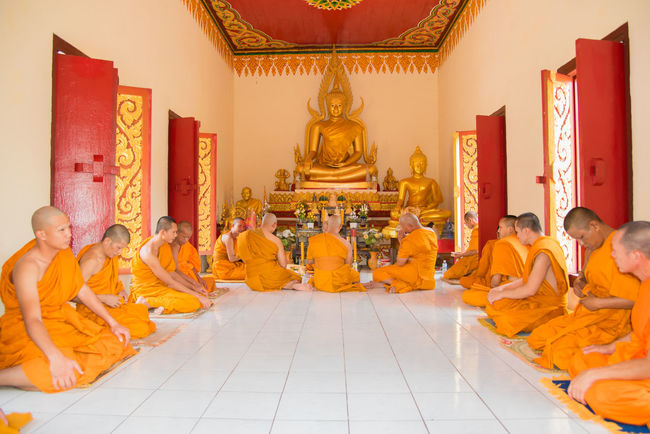 Adult ASIA Buddha Buddhism Buddhist Ceremony Golden Buddha Ordinate Ordination Ordination Ceremony Religion Temple Thailand Tranditional