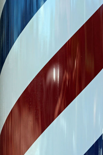 Barber Abstract American Barber Pole Blue Close Up Concept Design Haircut Red Stripes Pattern USA White
