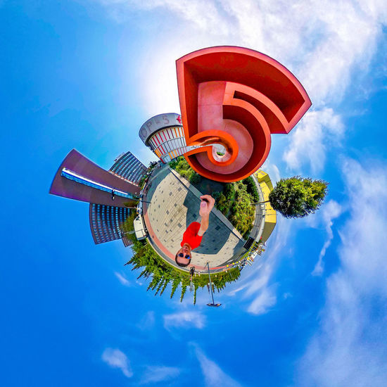 High 5 360camera Little Planet Photosphere Summertime Architecture Blue Building Exterior Built Structure Day Fish-eye Lens Five Loop5 Low Angle View Outdoors Planet Earth Red Sky Streetphotography Summer Tiny Planet Tree Urban Urbanphotography Weiterstadt