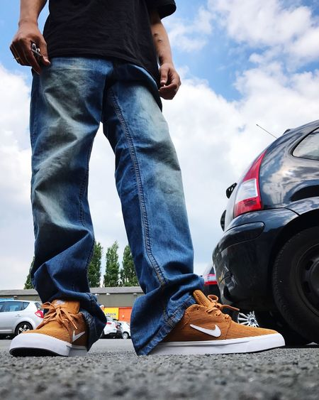 Husband Nike Jeans Low Section Shoe Human Leg Car Transportation Casual Clothing
