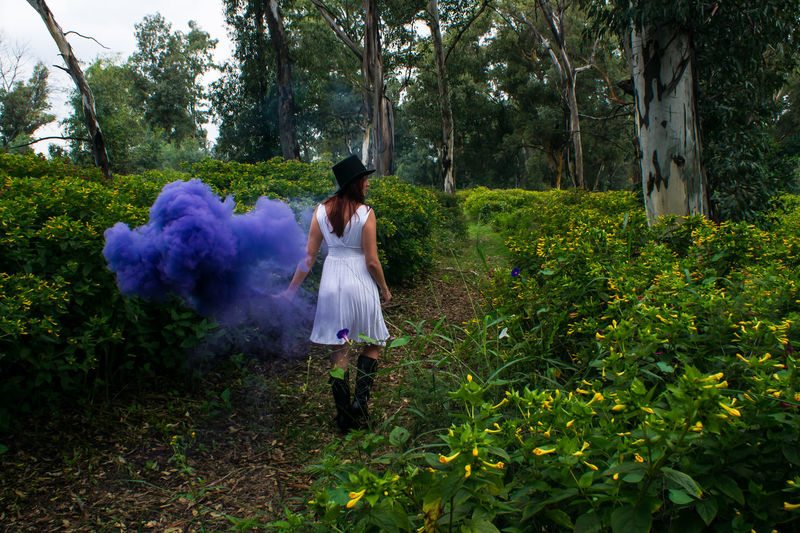 Beautiful women in white dress with smokebomb