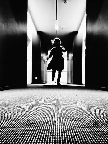 Run...... Hitchcock 😉 Full Length Lifestyles Illuminated Indoors  Walking One Person Rear View Tiled Floor Men Architecture Night Black&white Black And White Photography IPhoneography Iphonephotography Blackandwhite Blackandwhite Photography Black & White Black And White Running Running Late Cinematic Cinema Running Girl