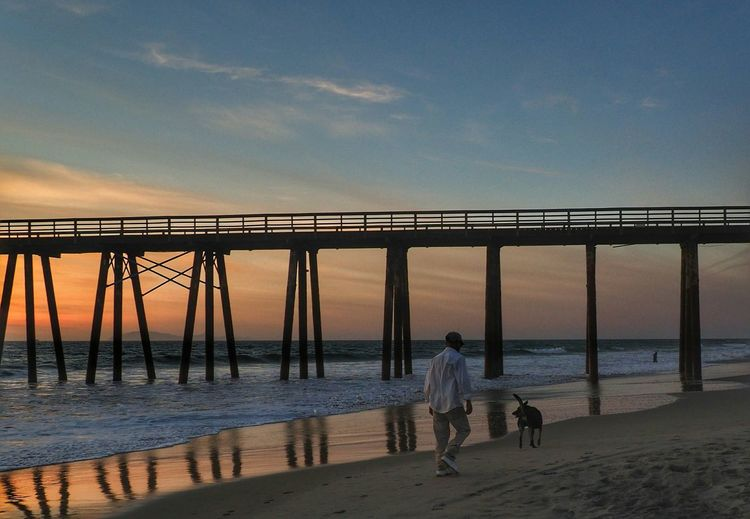 Full length rear view of man with dog walking on beach by pier during sunset