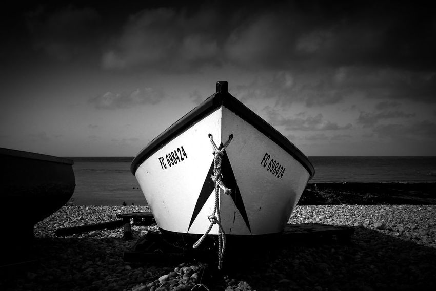 B&w Beach Boat Close-up Cloud - Sky Day Outdoors Sea Triangle Shape