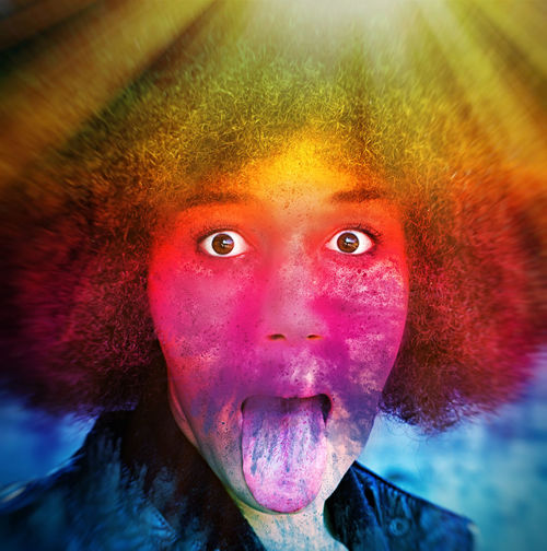Afro girl with rainbow colors sticking tongue out Portrait Looking At Camera People Emotion Face Holi Holi Festival Color Colorful Rainbow Rainbow Colors Girl Woman Afro Africa Tongue Crazy Party Event Festival Celebrate Celebration Hairstyle Explosion Fun