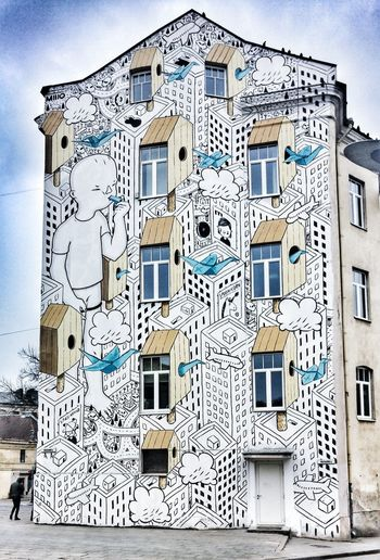 Building Exterior Architecture No People Window Built Structure Low Angle View Outdoors City Sky Day Close-up Mural Art Muralart Lithuania Lietuva Holiday Litwa Multi Colored City