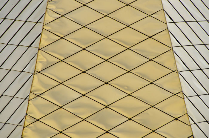 Golden plated metal geometric architecture detail Architectural Detail Architecture Backgrounds Building Church Detail Geometric Shape Geometry Gold Golden Metal Metallic Modern Office Pattern Perspective Religious  Shapes Surface Texture Tiles Urban 43 Golden Moments Color Palette
