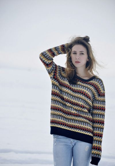 More photos with hand near head Snow JustMe Winter Russia Portrait
