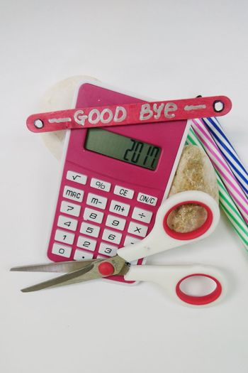 Good Bye 2017, Welcome 2018. Holiday Decoration 2017 New Year New Year 2018 Calculator 2017 Calculator Abacus Stick Pen White Stone Text Number Alphabet Communication White Background No People Studio Shot Indoors  Close-up Day