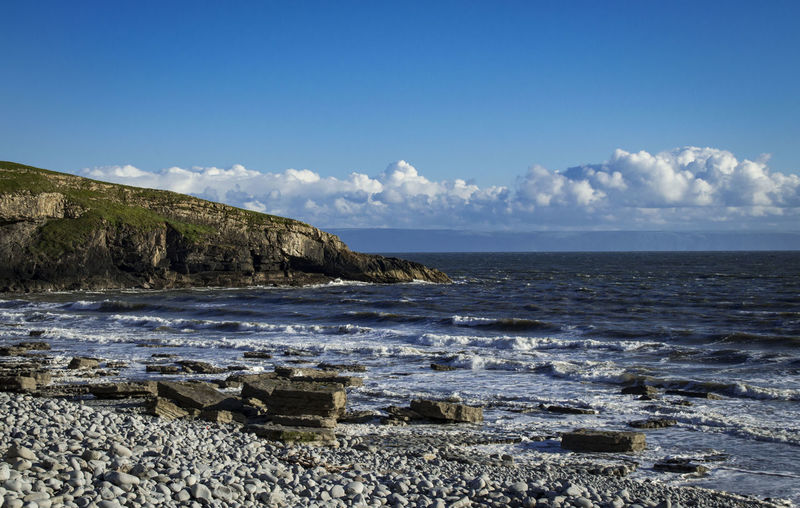 Beauty In Nature Blue Calm Cloud Cloud - Sky Coastline Coastline Landscape Coastline Wale Horizon Over Water Idyllic Nature Ogmore Rock - Object Rocky Beach Scenics Sea Sea And Sky Sea View Shore Sky South Wales Southerndown, Tranquil Scene Tranquility Water