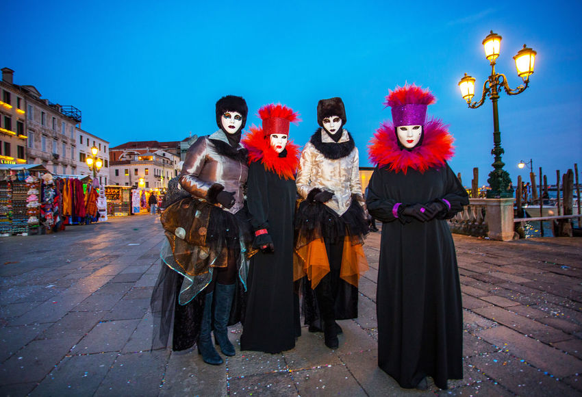 Carnival Carnival In Venice Venice, Italy Adult Adults Only Architecture Building Exterior Carnival Masks Costumes Front View Full Length Looking At Camera Mask Mask - Disguise Men Night One Person Only Men Outdoors Portrait Sky Smiling Stage Costume Standing Venetian Mask
