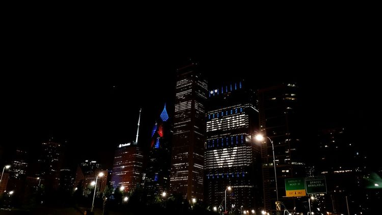 Night Illuminated Low Angle View City Outdoors No People Sky Chicago Chicago Skyline Gocubsgo Flythew
