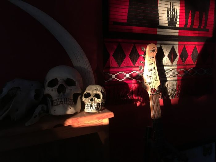 Mostly the best company is just a little weird, but it always comes with music. IPhoneography Natural Illumination Red Interior Design Wall Hanging Electric Guitar Skull Indoors  Bone  Human Body Part Skull Spooky Illuminated Human Representation Representation Architecture