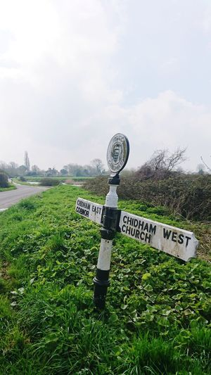 Sign Post Direction English Countryside Grass Sky Green Color