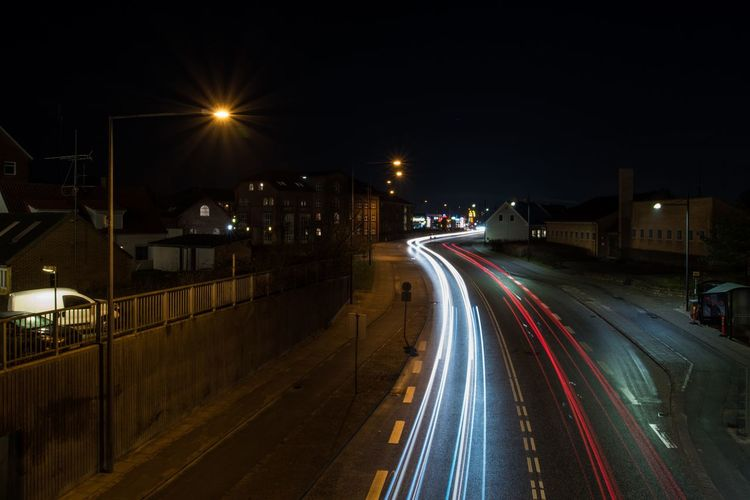 Denmark Hjørring EyeEm Gallery EyeEm Best Shots Illuminated Night Light Trail Speed Long Exposure Street Light Motion Transportation High Street Road Street Traffic Blurred Motion Lighting Equipment High Angle View Outdoors No People Building Exterior Urban Scene Architecture