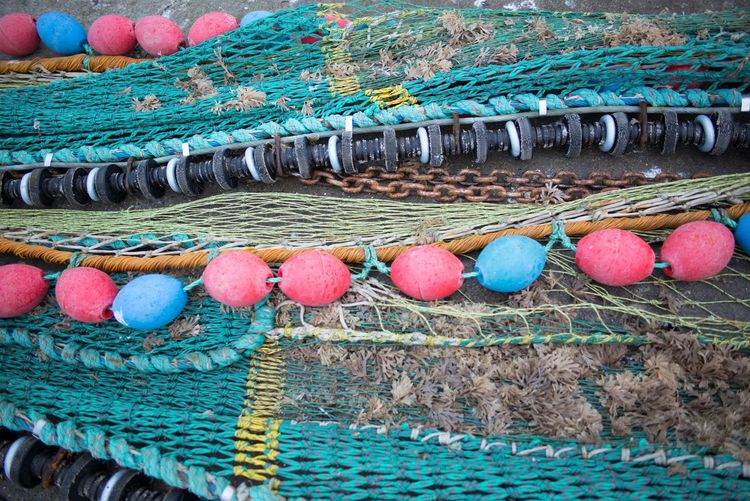 High Angle View Of Fishing Nets With Buoys At Harbor