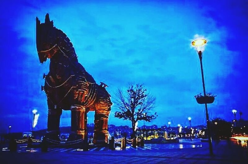 Blue Street Light Architecture Built Structure Building Exterior Illuminated Bare Tree Sky Outdoors City Life Electric Light History No People Creativity Monument Troas çanakkale