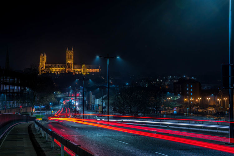Illuminated Night Light Trail Long Exposure Architecture Lincoln Catedral Britain Road Motion City Street Speed Outdoors Building Exterior Sky