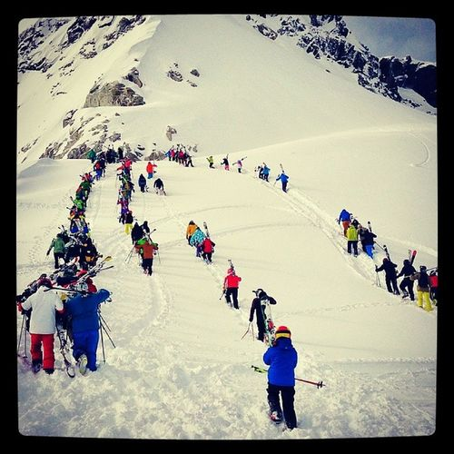 On the way to Blackcomb Glacier Whistler Bc Britishcolumbia Blackcomb glacier sunnyday snowboard ski people