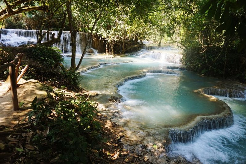 Waterfall Nature Beauty In Nature Scenics Landscape Kuang Si Waterfall Luang Phabang Laos South East Asia Wanderlust Travel Photography Travel Destinations