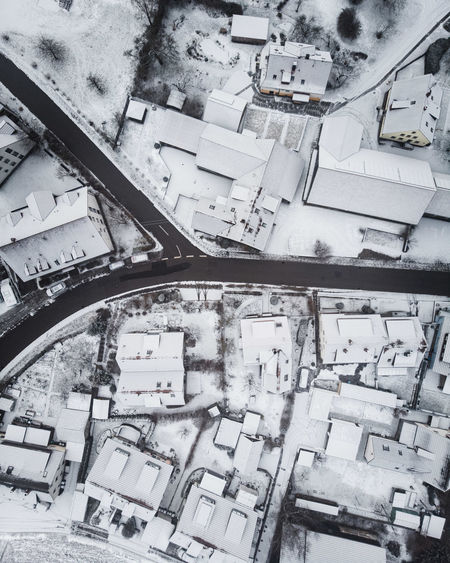 DJI X Eyeem December Decisions Fork In The Road From Above  Houses January Weather Winter Aerial Photography Cold Temperature Contrast Day Dronephotography Flying Landscape Outdoors Parting Of Ways Rural Area Small Town Snow Town White