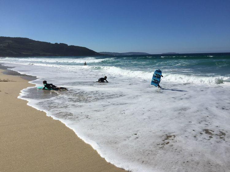 Little Surfers Beach Sea Land Water Sky Sand Real People