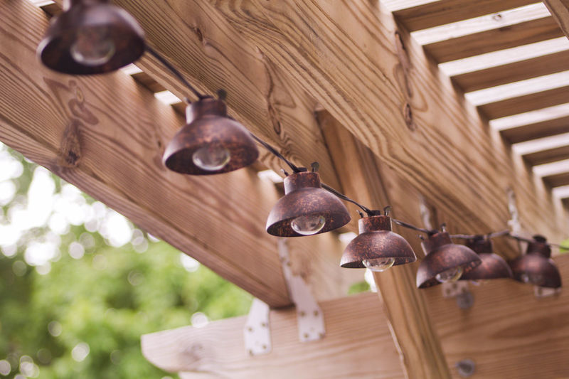 Lights No People Patio Pergola Selective Focus String Of Lights Wood Wood - Material Wooden Summer
