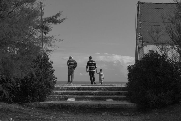 Autumn Blackandwhite Clouds Family Life Men My Town No Colors People Sky Stairs Storytelling Street Streetphotography Summer Ending Togetherness Tree Wide Angle