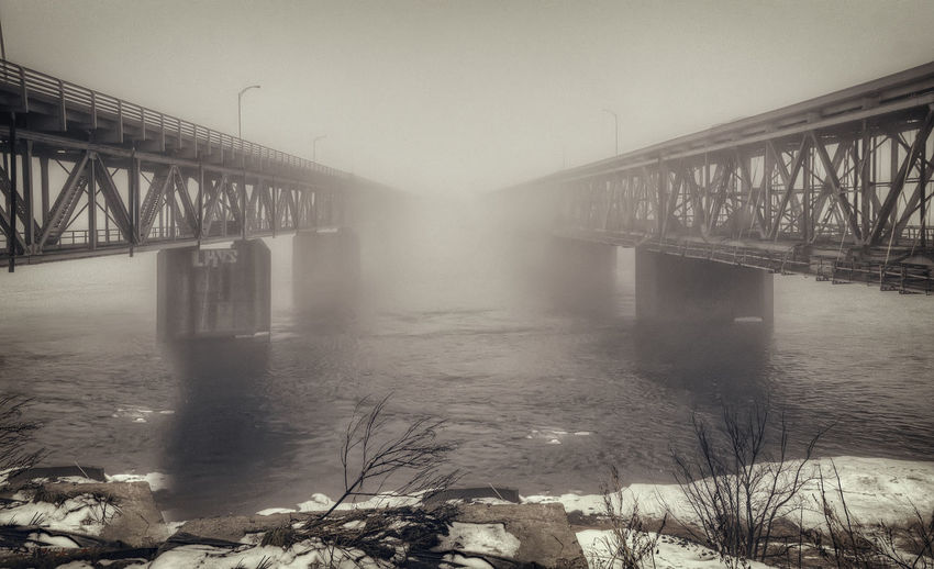 Into the Unknown Architecture Beauty In Nature Bridge Engineering Fog Mercier Mist River Transportation Water Winter