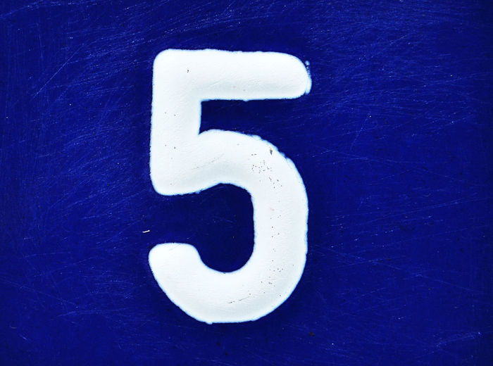 number 5 Blue Blue Sky Close-up Day First Eyeem Photo Five House Number Mat No People Number Number 5 Street Number