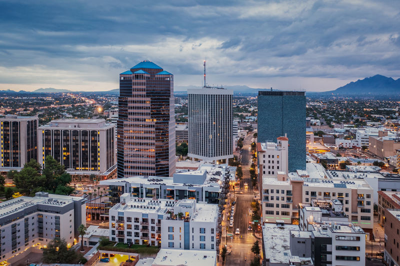 Drone view of downtown tucson, arizona at dusk.