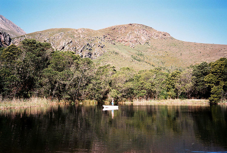 35mm 35mm Film Africa Boat Calm Lake Landscape Mountain Mountain Range Nature Outdoors Reflection Tranquil Scene Tranquility Tree Water