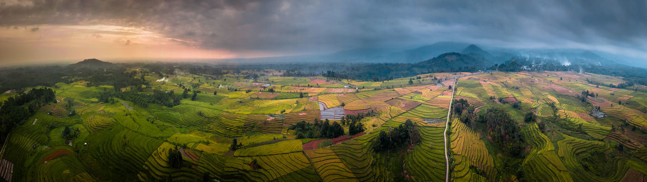 Panoramic view of agricultural landscape against sky