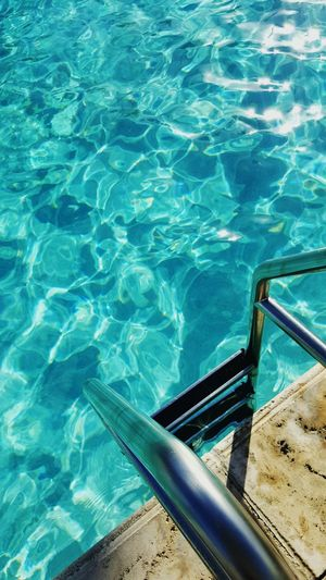 Water Sunlight Swimming Pool Outdoors Day No People Refraction Ladder To Water Ladder Metal Ladder Metal Pool Ladder Water Reflections