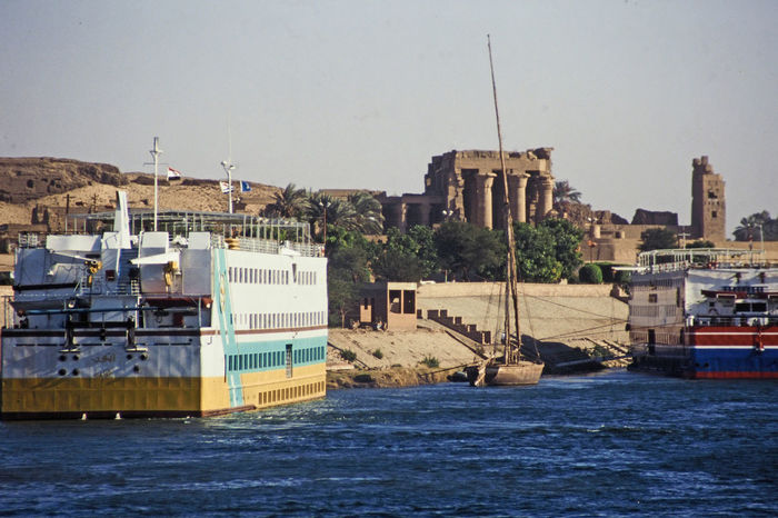 Nile cruise ships approaching the Temple of Kom Ombo, near Luxor, Egypt Architecture Sea Water Nature Sky Day Outdoors Transportation Waterfront Clear Sky No People Mode Of Transport Luxor,Egypt Nautical Vessel Building Exterior Built Structure Commercial Dock Kom Ombo Temple A Taste Of Egypt Feluca Nile Cruise Ships Sober The Crocodile God Colour Your Horizn