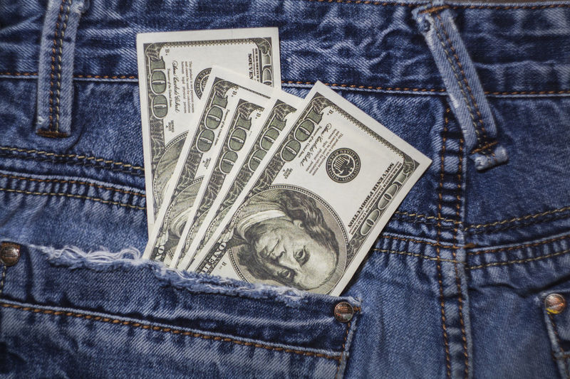American 100 dollar bills in the back pocket of blue jeans Blue Jeans 100 Dollars Banknotes Business Currency Jeans Background Banking Bill Blue Cash Coin Dollars Finance Hundred Dollars Jeans Money In Pocket Pocket  Savings Success