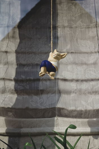 Easter Bunny Hanging From Rope Against Wall