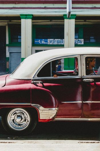 Classic EyeEm Best Shots EyeEm Selects Architecture Building Exterior Built Structure Car City Day Land Vehicle Mode Of Transportation Motion Motor Vehicle No People Outdoors Red Retro Styled Street Streetphotography Transportation Travel Vintage Car Window
